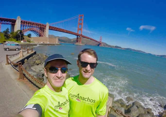 "Father and son before the ""Golden Gate Bridge Run"""