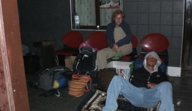 Sleeping At The Train Station In Romania