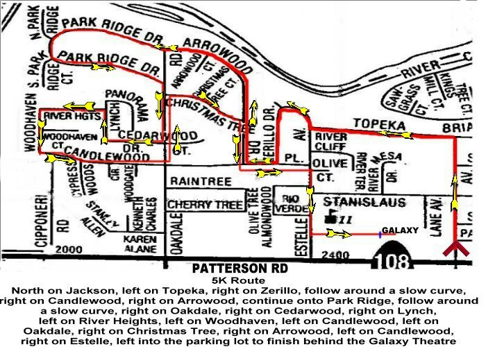 Riverbank Run for the Cheese 5K Race Route Map