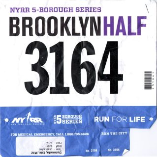 Finish in 1:40:06, pace 07:39 — in Brooklyn, NY.