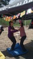 The girls do a warm up dance