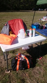 My self-aid station. Thank you to Dan Hernandez for lending me his table.