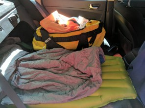My sleeping space in the trunk