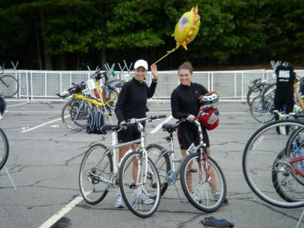 This was me with my borrowed mountain bike and my coworker during my first sprint triathlon in 2006.