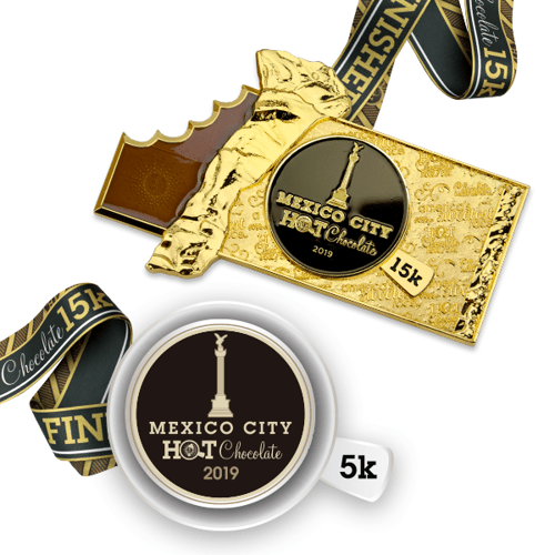 medalla carrera hot chocolate 15K mexico
