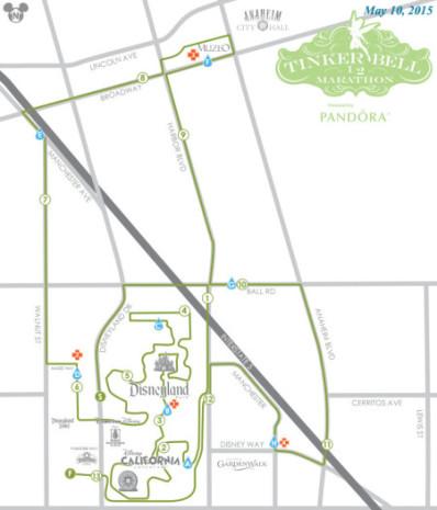 Tinker Bell Half Marathon Course Map 2015