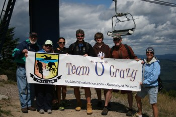 I am blessed with an incredible family support system, which we affectionally call Team U-Crazy. From left: My father-in-law John, my mother-in-law Jeanne (who made the awesome signs!), sister-in-law Tracy, brother Johnny, nephew Jake, husband John, and ham-it-up me! This picture was taken from the top of Mont Tremblant, the day after IMMT 2012.