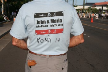 Johns dad wore the t-shirts his mother made from our first Ironman - with a little extra something. From our first Ironman to now. What a proper way to commemorate!