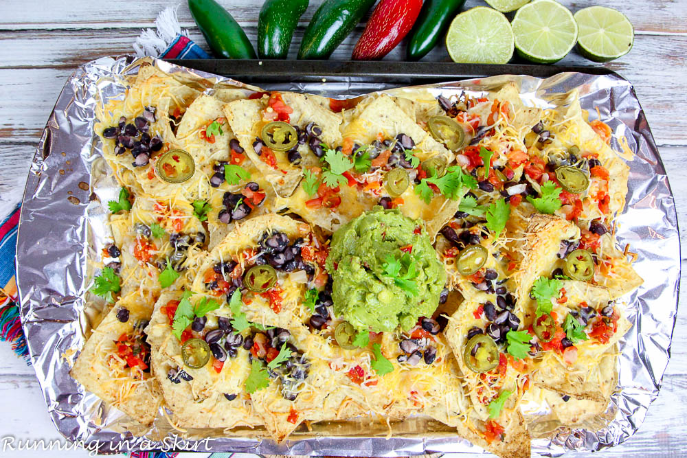 Overhead shot of sheet pan with meatless nachos.