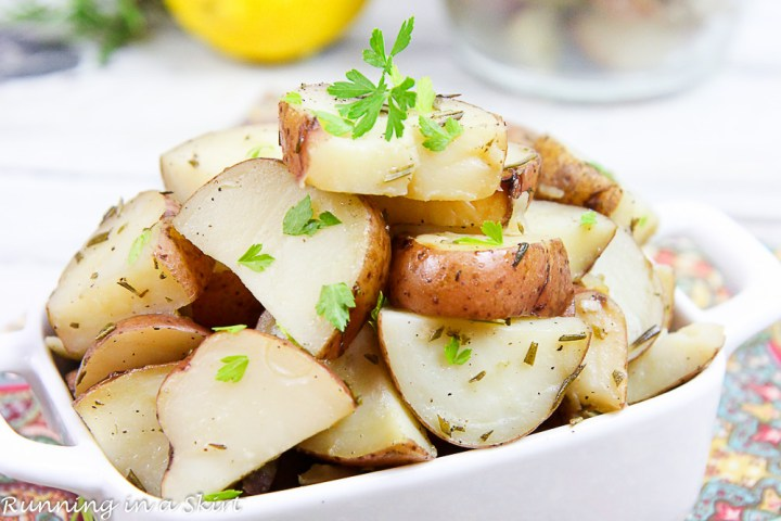 Finished product of Crock Pot Rosemary Potatoes with lemons.