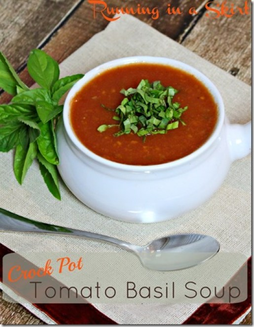 Crock Pot Tomato Basil Soup - perfect for any season! Packed with basil and naturally sweet with other hidden veggies!