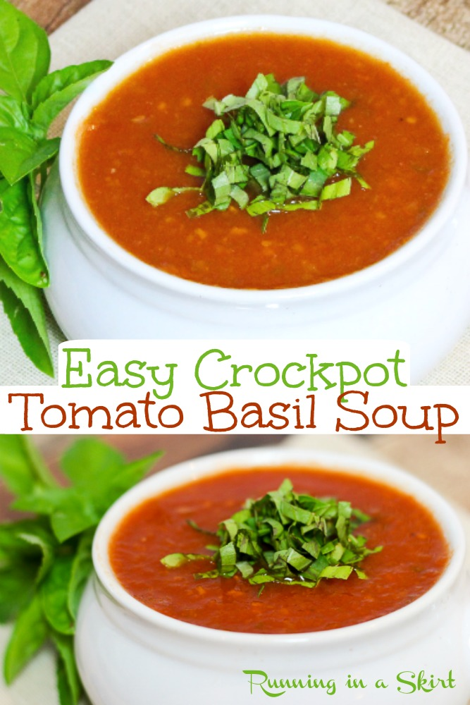 Healthy and flavorful tomato basil soup made in the Crock Pot. This easy vegetarian and vegan comfort food is the perfect thing to warm up with on a chilly evening. #tomatosoup #easyrecipe #soup #comfortfood via @juliewunder