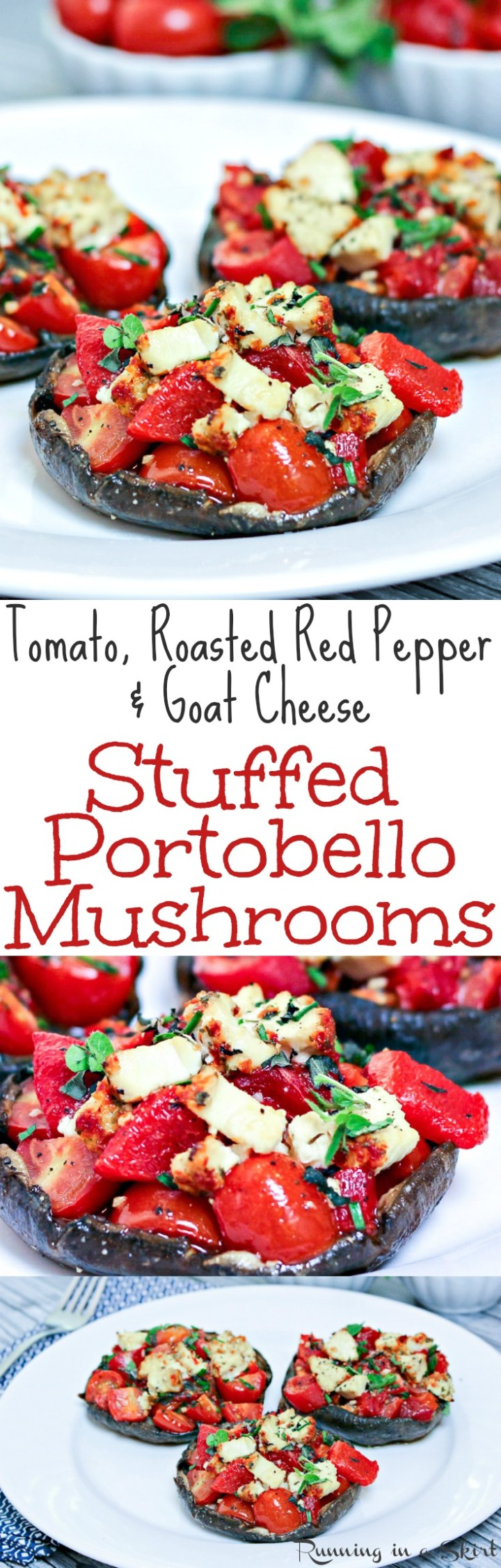 Healthy Vegetarian Stuffed Portobello Mushrooms recipe - with roasted tomato, roasted red peppers and goat cheese! Clean eating and a great option for a vegetarian main course. These caps are baked to perfection. Low Carb & Gluten free / Running in a Skirt via @juliewunder