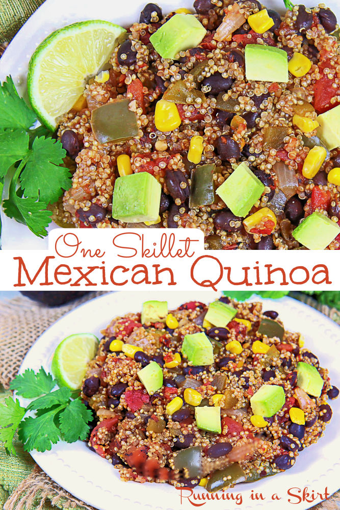 Pinterest Pin collage for One Pan, One Skillet Mexican Quinoa.