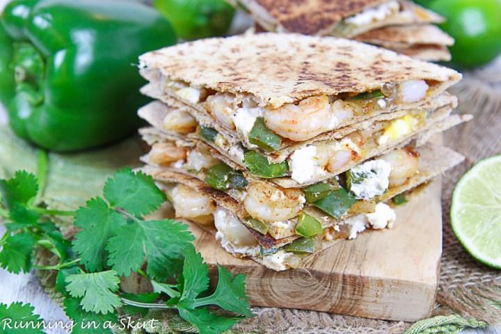 Finished shot of the inside of the shrimp quesadilla recipe.