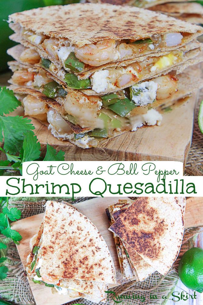 Pinterest collage for the shrimp quesadilla recipe.