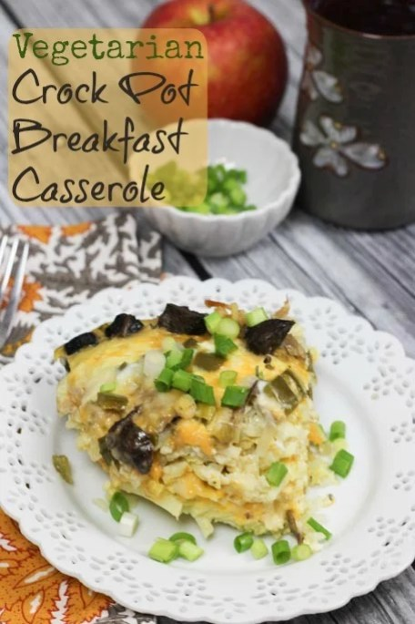 Vegetarian Crock Pot Breakfast Casserole- so yummy! Perfect for breakfast, brunch or a crowd!