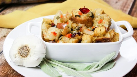 The Best Vegetarian Stuffing in a white serving dish.
