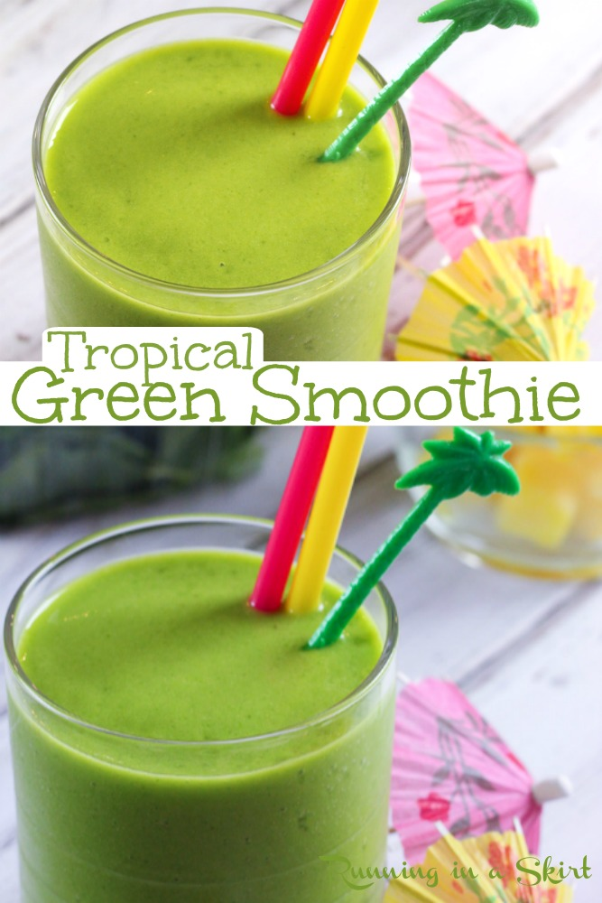 Tropical Green Smoothie recipe - The BEST Health Island Green Smoothie. This easy smoothie is a copycat of Whole Foods and Jamba Juice but better! Uses mango and Pineapple so it's actually yummy, tasty, and delicious. Vegan, simple, low calorie and good enough for kids or toddlers too. / Running in a Skirt #smoothie #greensmoothie #healthy #vegan #vegetarian #healthyliving via @juliewunder