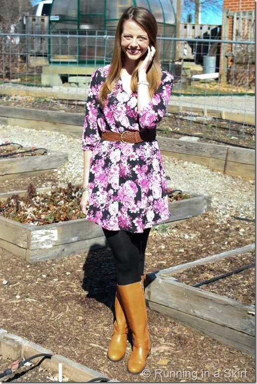 Floral Dress with Boots-73-1