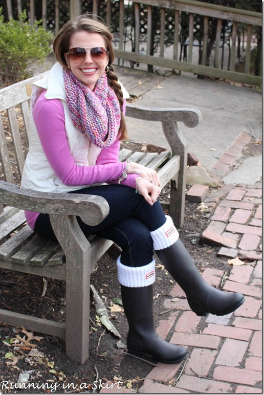 How to Style Hunter Rain Boots  Running in a Skirt