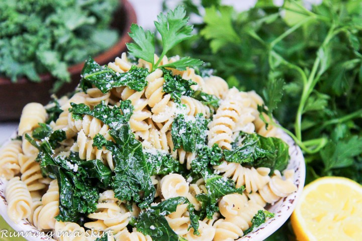 Finished shot of the kale pasta in a bowl.