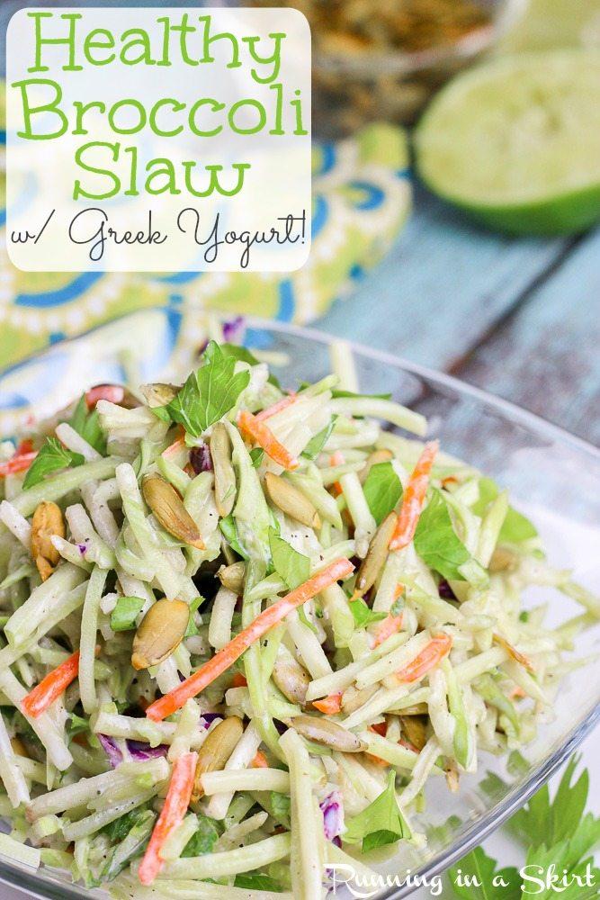 Healthy Broccoli Slaw Recipe with greek yogurt