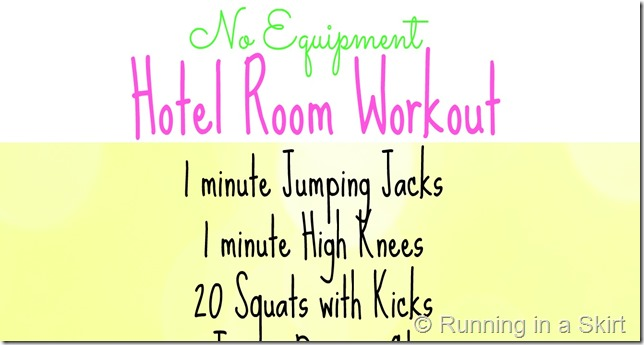 Travel doesn't have to be an obstacle to working out!  With this quick No Equipment Hotel Room Workout you can get a quick full body fitness session in without even leaving your room.