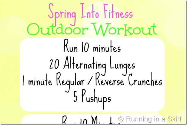 Spring is the season where I am most inspired to get out of the gym and workout outside! This workout mixes running and circuit training into one great outdoor workout idea. See post for details!