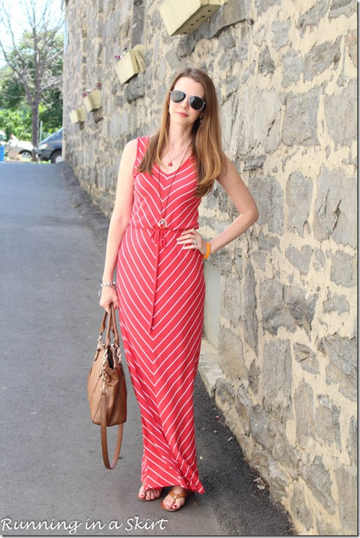 Chevron Maxi Dress/ Running in a Skirt