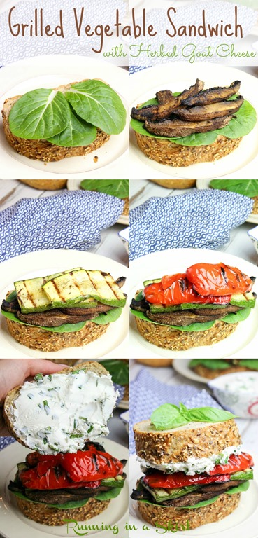 Healthy Grilled Vegetable Sandwich with easy, homemade Herbed Goat Cheese recipe.  Stacked high with mushrooms, red peppers, and zucchini.  If you are looking for vegetarian grilling recipes, this is the perfect one! | Running in a Skirt