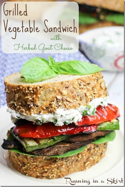 grilled vegetable sandwich with herbed goat cheese pin