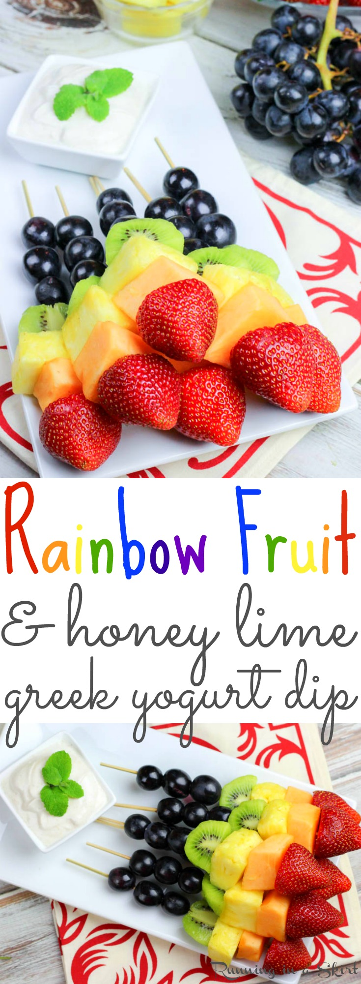 Rainbow Fruit Skewers recipe with Healthy Greek Yogurt Dip- the perfect fun kabobs snack ideas for a summer parties or St. Patrick's Day. Includes two dips desserts- Honey Almond Dip and Honey Lime Dip. / Running in a Skirt via @juliewunder