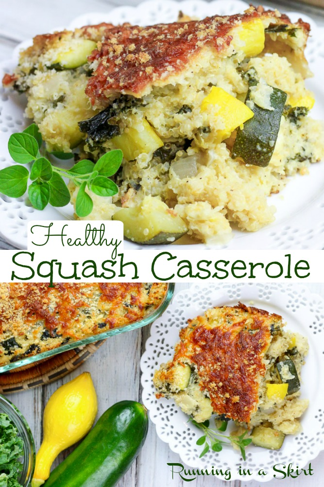 Healthy Squash Casserole recipe - Southern Style with yellow squash, zucchini AND clean eating & heart healthy with greek yogurt. This easy baked summer squash recipe is the best, super tasty and good for you with quinoa and kale plus NO mayonnaise. Vegetarian. / Running in a Skirt #squash #vegetarian #healthy #casserole #southern via @juliewunder