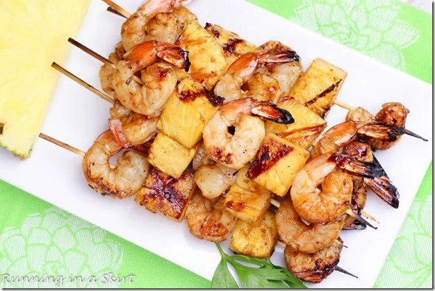 Overhead shot of finished Shrimp Pineapple Kabobs
