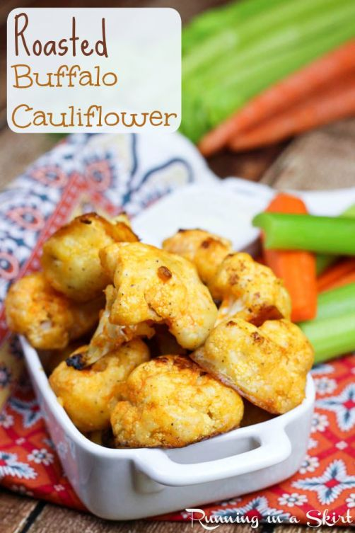 Buffalo Roasted Cauliflower- Sideline Meat Monday Night with this tasty game day treat!