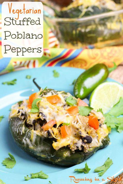 Vegetarian Stuffed Poblano Peppers - quinoa stuffed vegetarian meal!/ Running in a Skirt