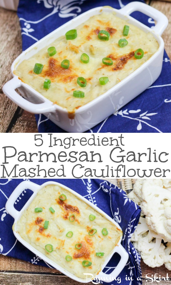5 ingredient easy Parmesan Garlic Mashed Cauliflower recipe