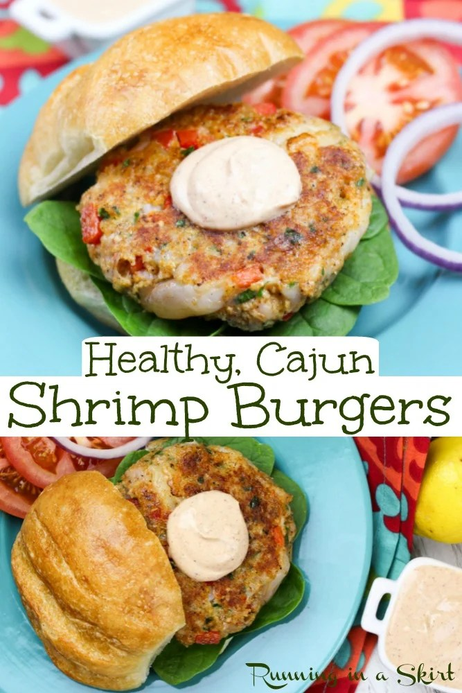 Cajun Shrimp Burger on a blue plate pinterest pin.