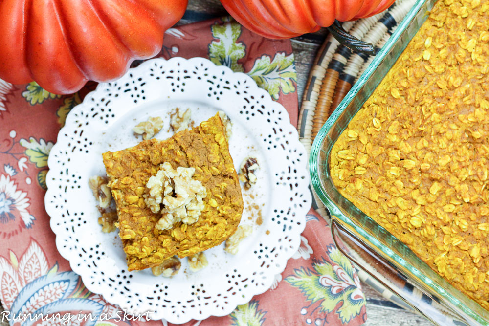Pumpkin Pie Baked Oatmeal- whole foods, clean eating breakfast for fall!/ Running in a Skirt