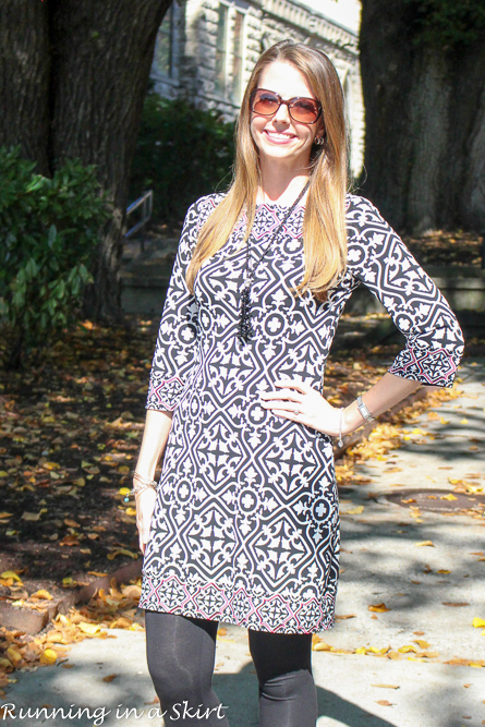 Black and White Print Dress with Leggings- ideal for traveling!/ Running in a Skirt