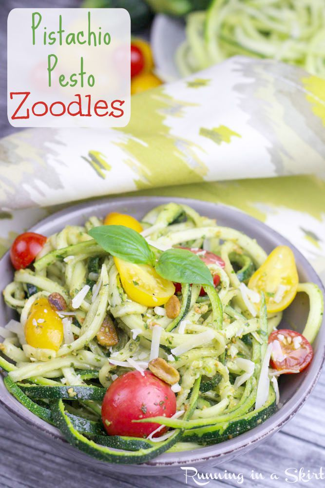 Pistachio Pesto Zoodles - raw or cooked zucchini noodle dish / Running in a Skirt
