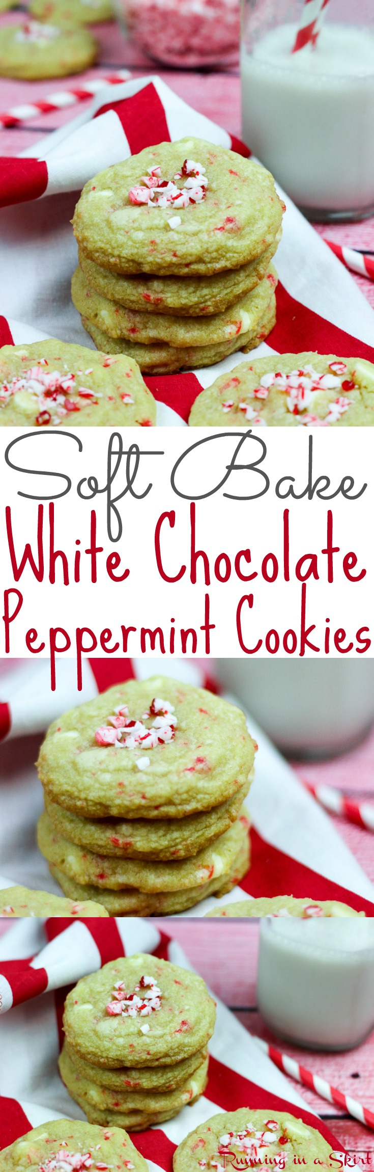 Simple, Soft Bake White Chocolate Peppermint Cookies recipe.  This easy desserts recipe is chewy and delicious... the perfect holiday foods.  Your families, friends and kids will love these.  Made in a small batch for healthy portion control. / Running in a Skirt via @juliewunder