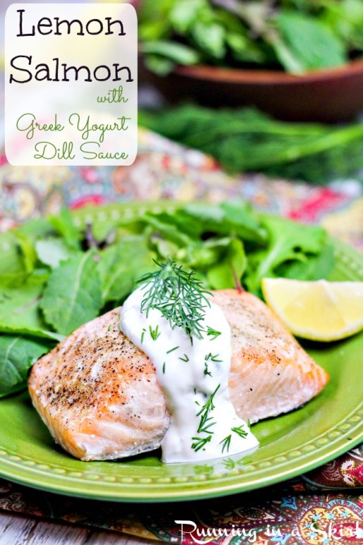 Oven Baked Lemon Salmon with dill sauce for salmon - / Running in a Skirt