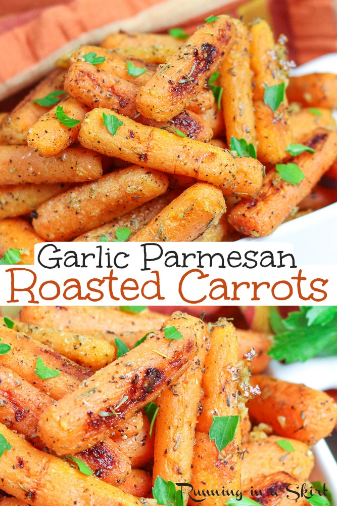 Garlic Parmesan Roasted Carrots recipe - oven roasted to perfection! Crispy, healthy and so tasty. Made on a sheet pan and includes how to roast baby carrots instructions So tasty. / Running in a Skirt #vegetarian #healthy #recipe #sheetpan via @juliewunder