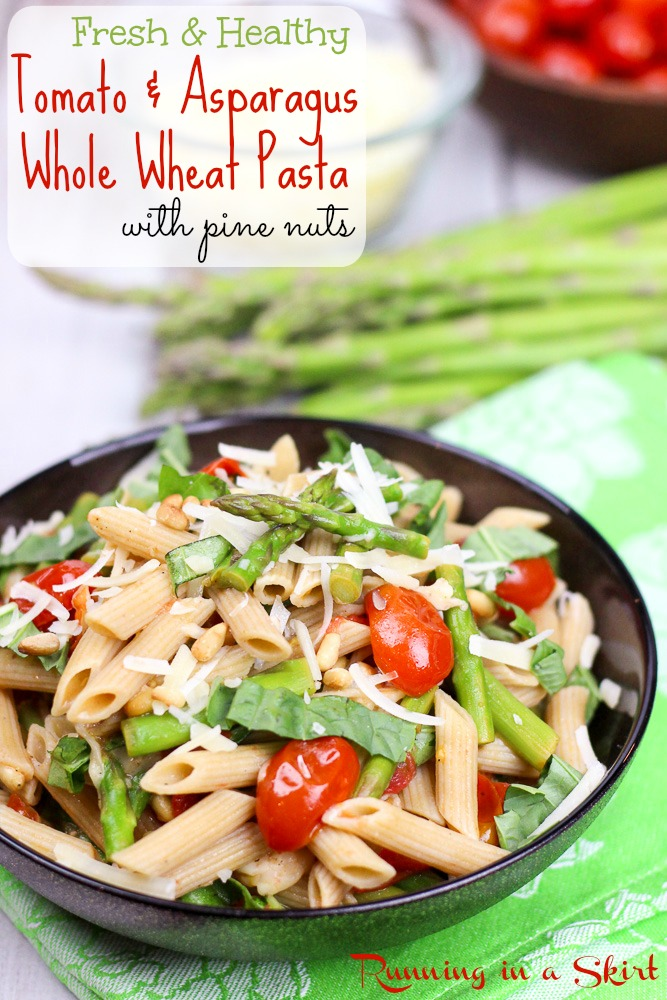 Fresh, Healthy, Vegetarian Tomato and Asparagus Pasta recipe / Running in a Skirt