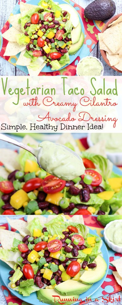 Vegetarian Taco Salad Recipe - simple healthy dinner idea. / Running in a Skirt