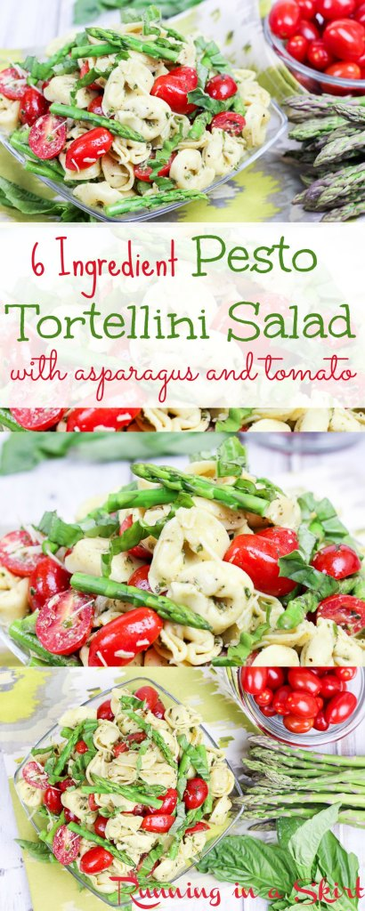 6 Ingredient Easy Tortellini Salad with Pesto recipe. Filled with asparagus and tomatoes! / Running in a Skirt