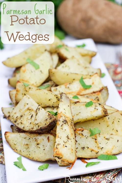 Healthy, Oven Baked Parmesan Garlic Potato Wedges Recipe / Running in a Skirt
