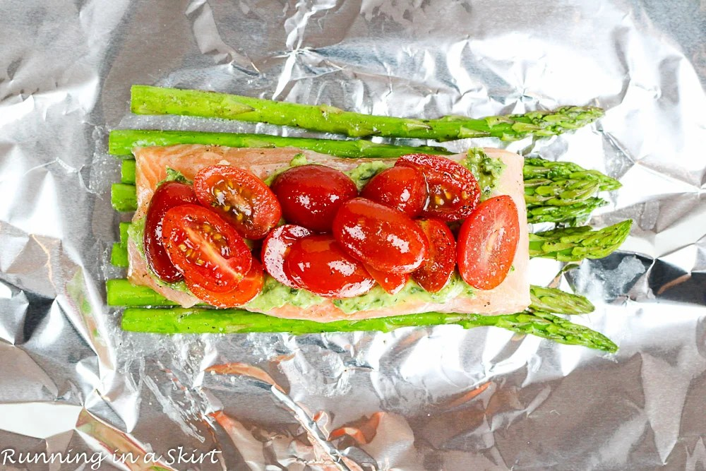Salmon and Vegetables in Foil. Fresh asparagus and tomato! Only 6 Ingredients/ Running in a Skirt